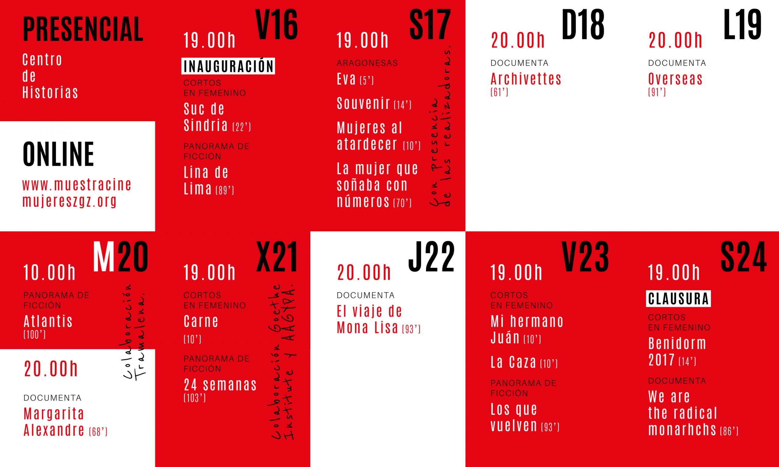 parrilla del XXIII festival internacional de cine realizado por mujeres, zaragoza